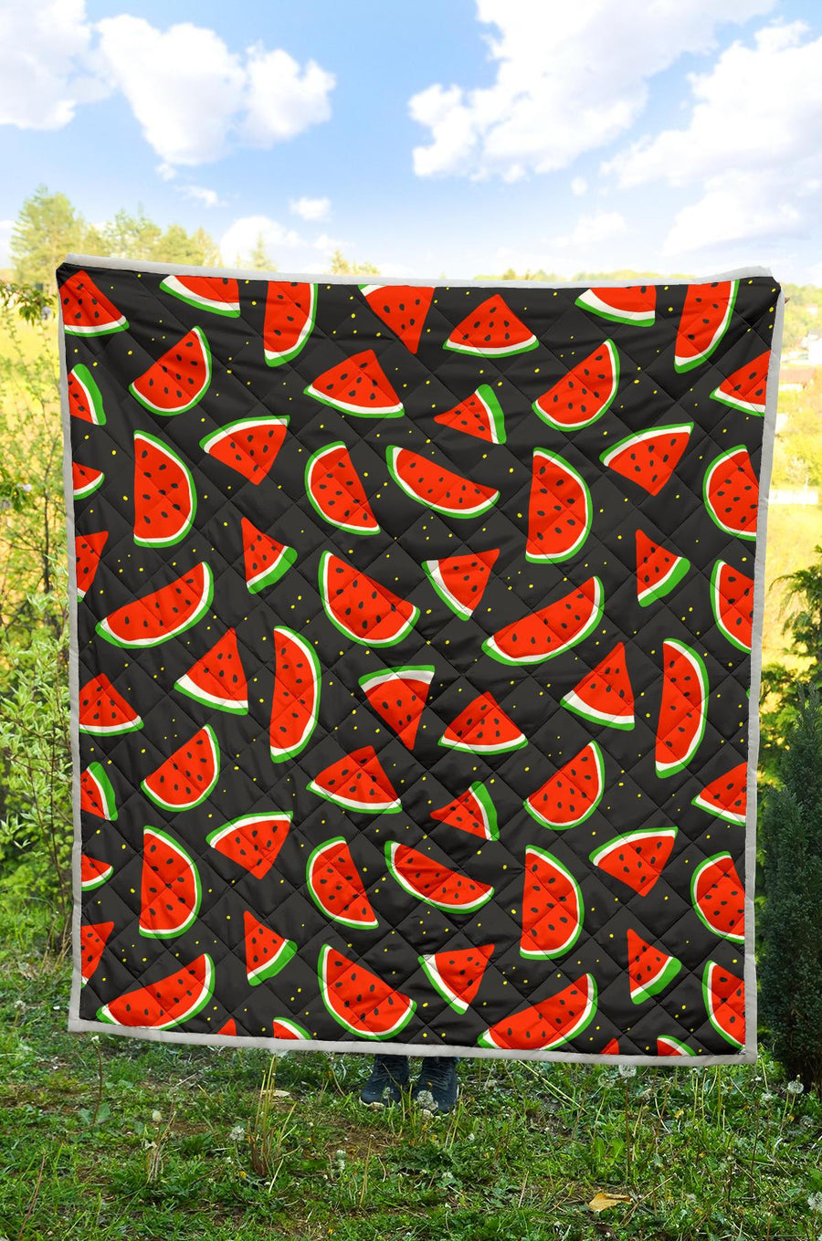 Black Cute Watermelon Pattern Print Quilt GearFrost
