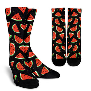 Black Cute Watermelon Pattern Print Unisex Crew Socks GearFrost