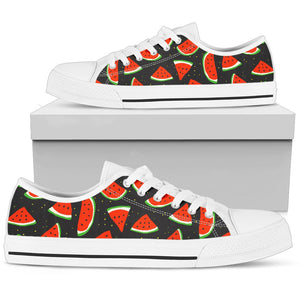 Black Cute Watermelon Pattern Print Women's Low Top Shoes GearFrost