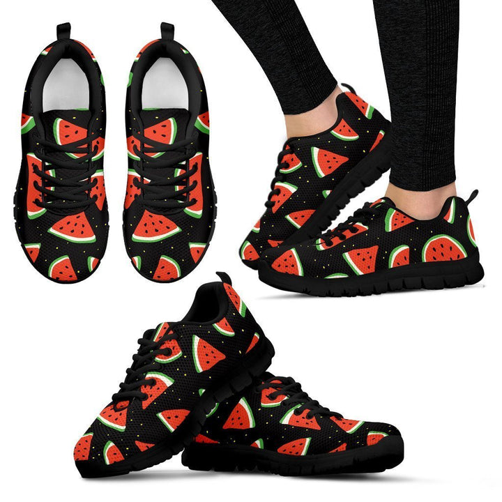 Black Cute Watermelon Pattern Print Women's Sneakers GearFrost