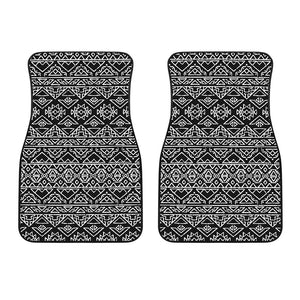 Black Ethnic Aztec Pattern Print Front Car Floor Mats GearFrost