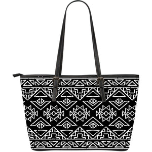 Black Ethnic Aztec Pattern Print Leather Tote Bag GearFrost