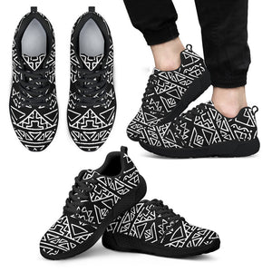 Black Ethnic Aztec Pattern Print Men's Athletic Shoes GearFrost
