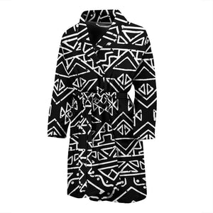 Black Ethnic Aztec Pattern Print Men's Bathrobe GearFrost