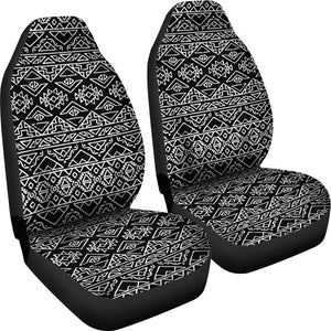 Black Ethnic Aztec Pattern Print Universal Fit Car Seat Covers GearFrost