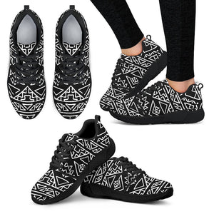 Black Ethnic Aztec Pattern Print Women's Athletic Shoes GearFrost