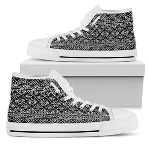 Black Ethnic Aztec Pattern Print Women's High Top Shoes GearFrost