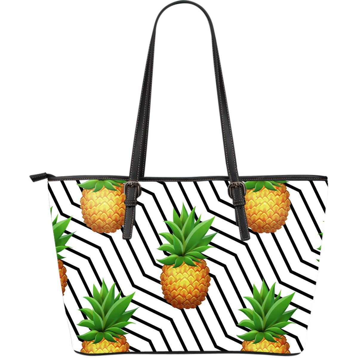 Black Geometric Pineapple Pattern Print Leather Tote Bag GearFrost