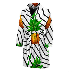 Black Geometric Pineapple Pattern Print Men's Bathrobe GearFrost