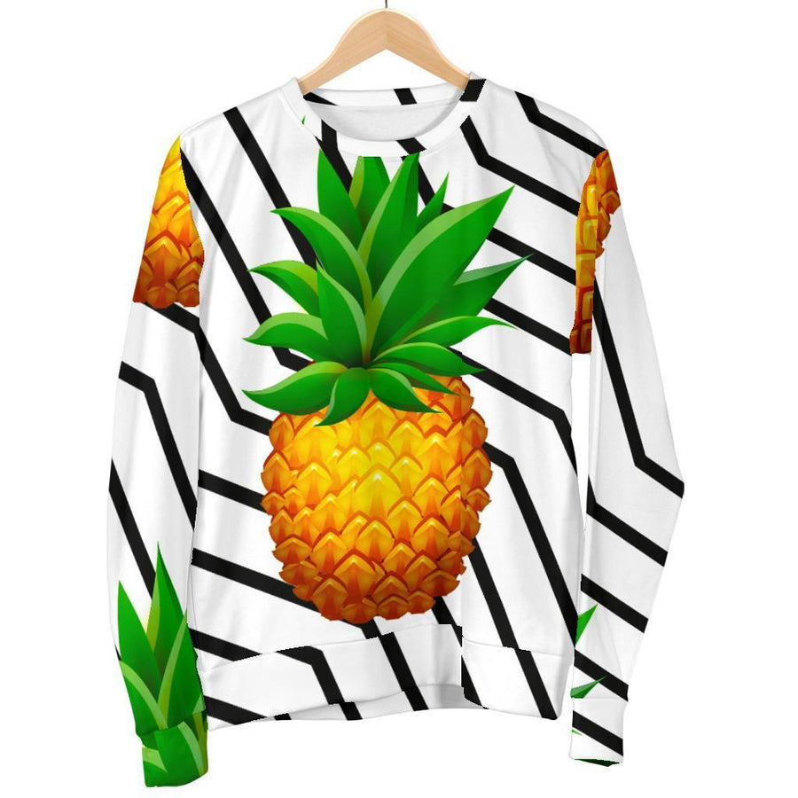 Black Geometric Pineapple Pattern Print Women's Crewneck Sweatshirt GearFrost