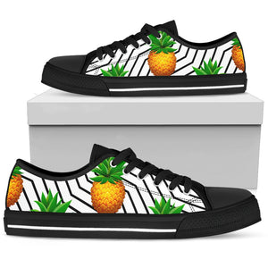 Black Geometric Pineapple Pattern Print Women's Low Top Shoes GearFrost