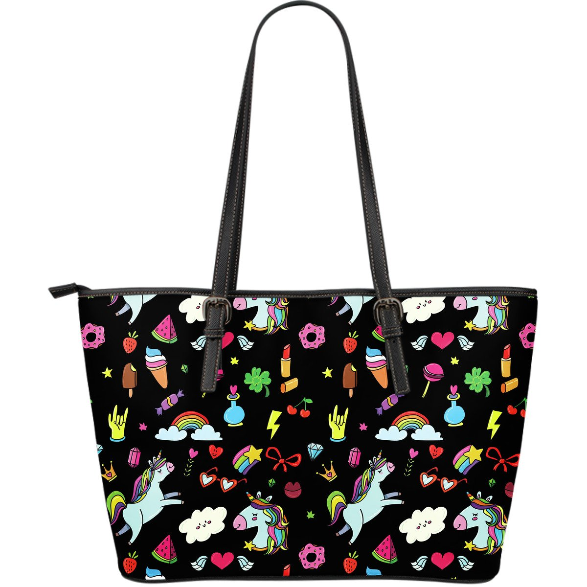 Black Girly Unicorn Pattern Print Leather Tote Bag GearFrost