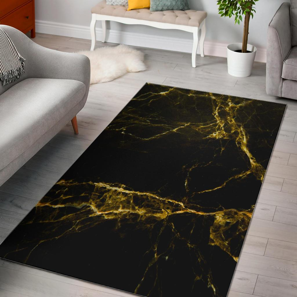 Black Gold Marble Print Area Rug GearFrost