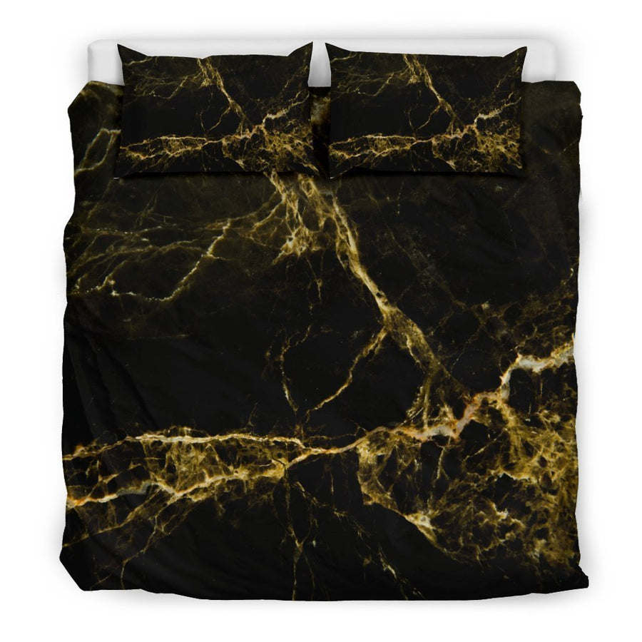 Black Gold Marble Print Duvet Cover Bedding Set GearFrost