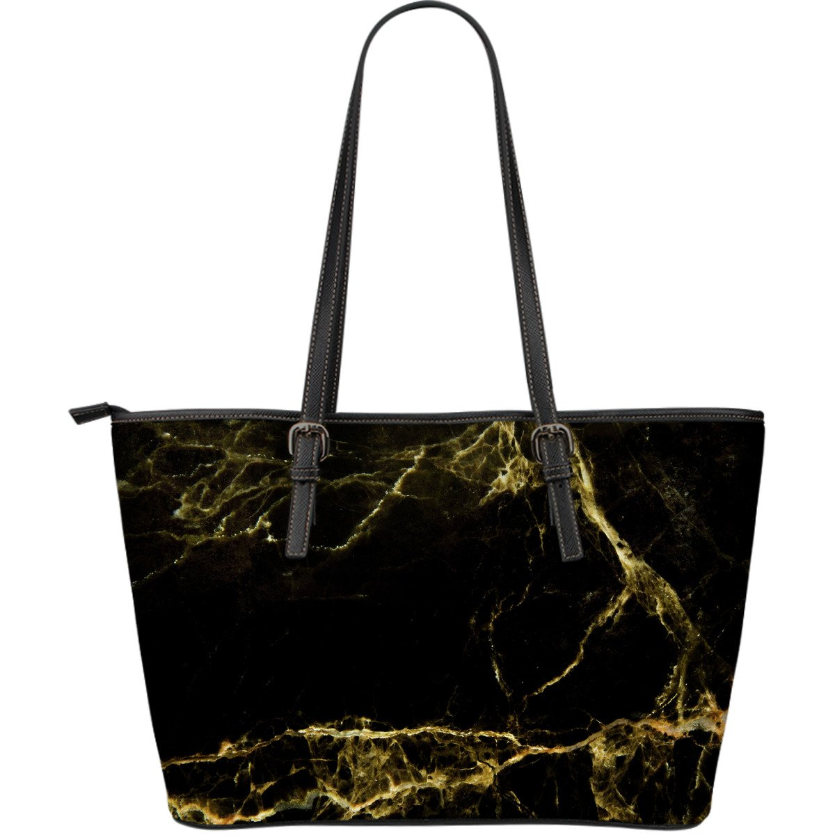 Black Gold Marble Print Leather Tote Bag GearFrost