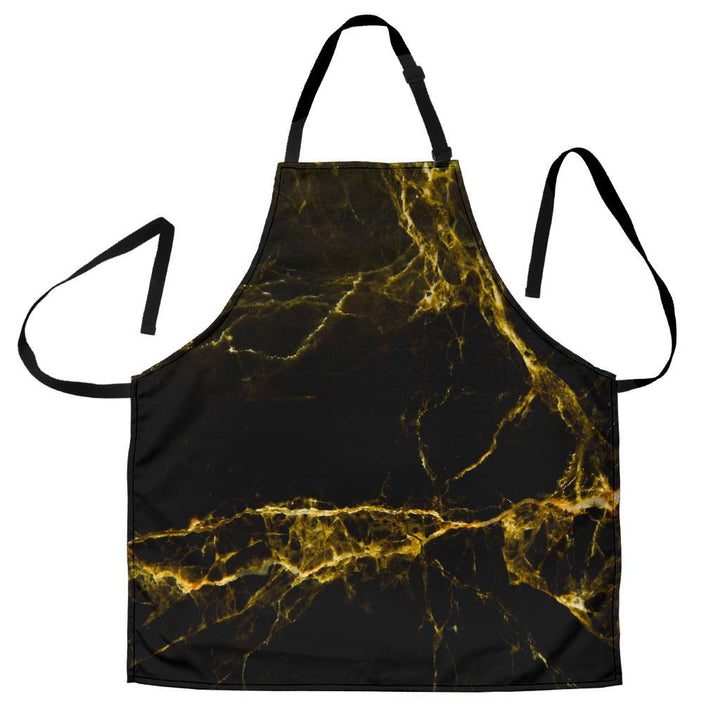 Black Gold Marble Print Men's Apron GearFrost