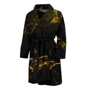 Black Gold Marble Print Men's Bathrobe GearFrost