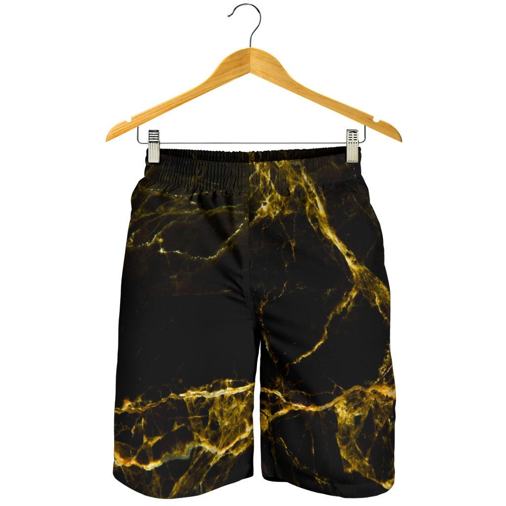 Black Gold Marble Print Men's Shorts GearFrost