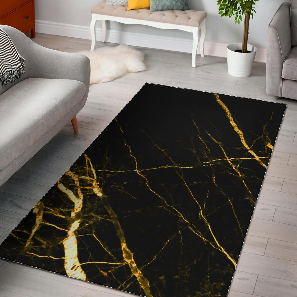 Black Gold Scratch Marble Print Area Rug GearFrost