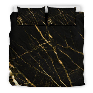 Black Gold Scratch Marble Print Duvet Cover Bedding Set GearFrost
