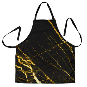 Black Gold Scratch Marble Print Men's Apron GearFrost