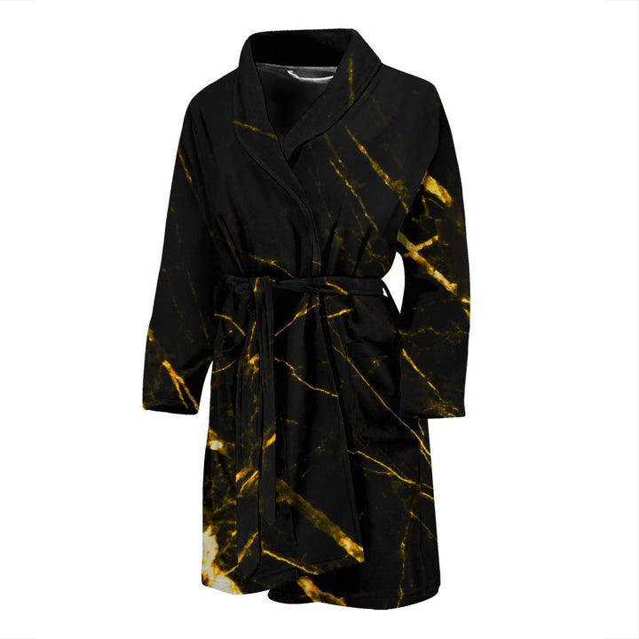 Black Gold Scratch Marble Print Men's Bathrobe GearFrost
