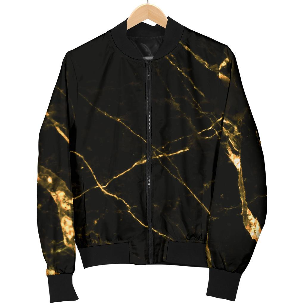 Black Gold Scratch Marble Print Men's Bomber Jacket GearFrost