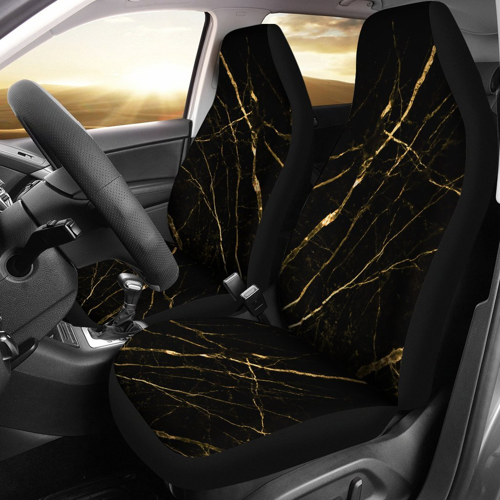 Black Gold Scratch Marble Print Universal Fit Car Seat Covers
