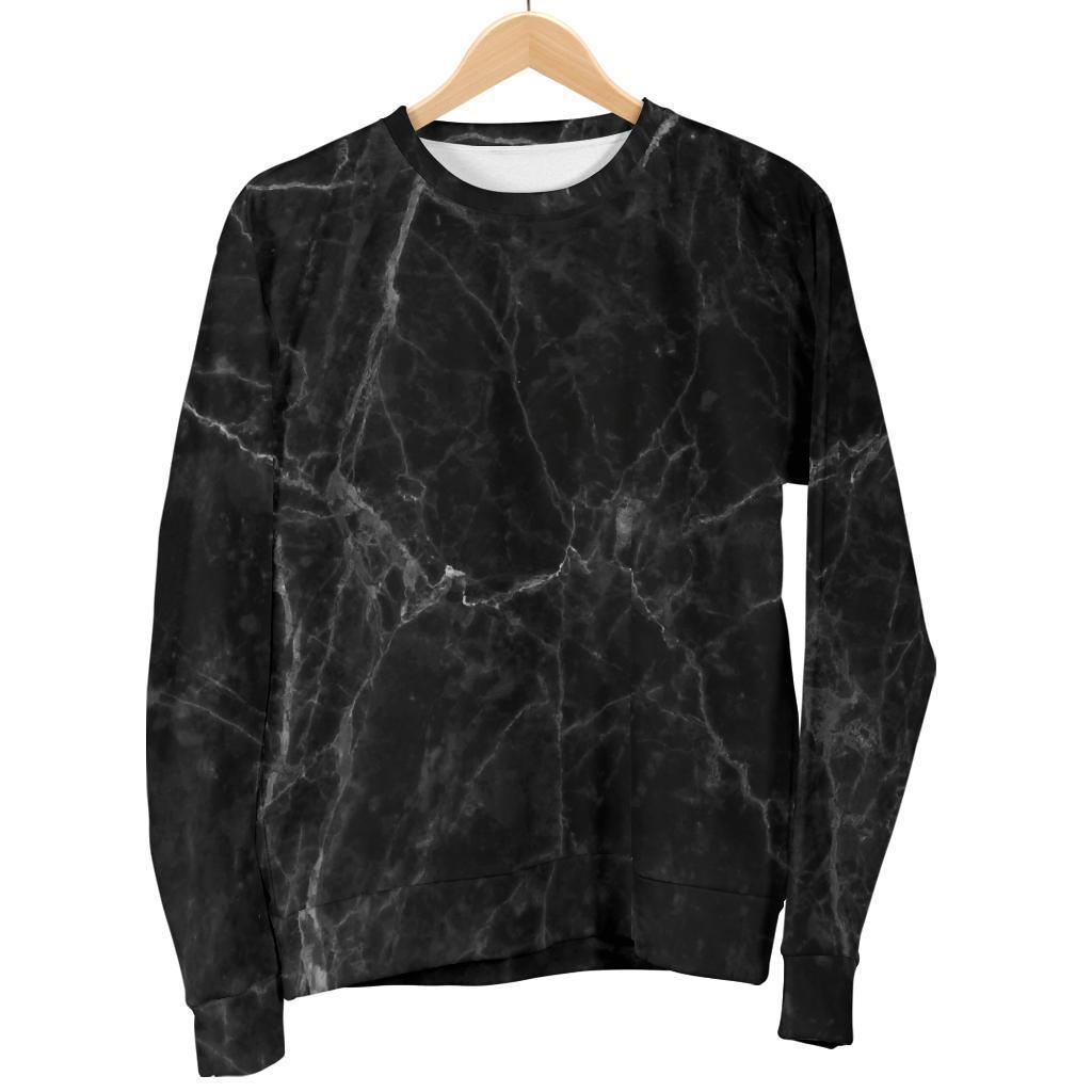 Black Grey Dark Marble Print Men's Crewneck Sweatshirt GearFrost