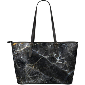 Black Grey Marble Print Leather Tote Bag GearFrost