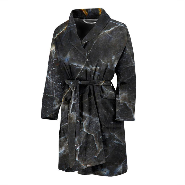 Black Grey Marble Print Men's Bathrobe GearFrost