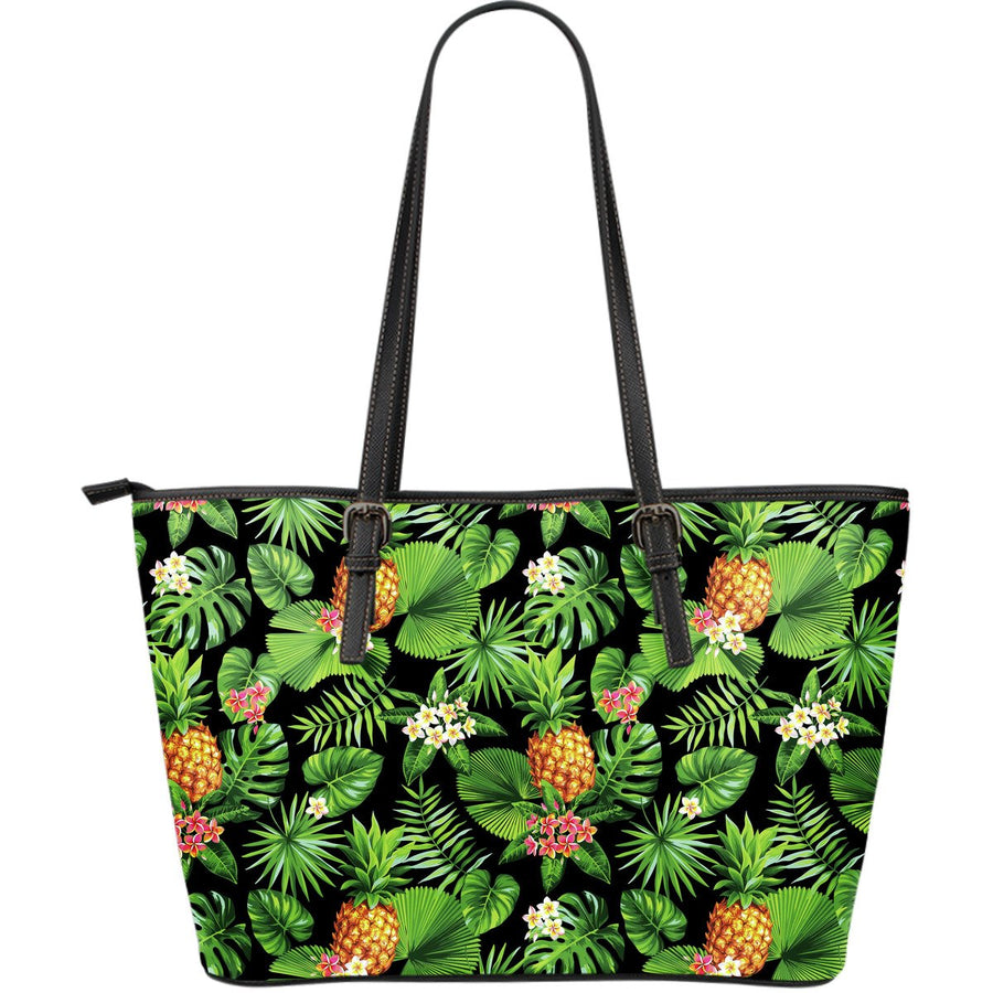 Black Hawaiian Pineapple Pattern Print Leather Tote Bag GearFrost