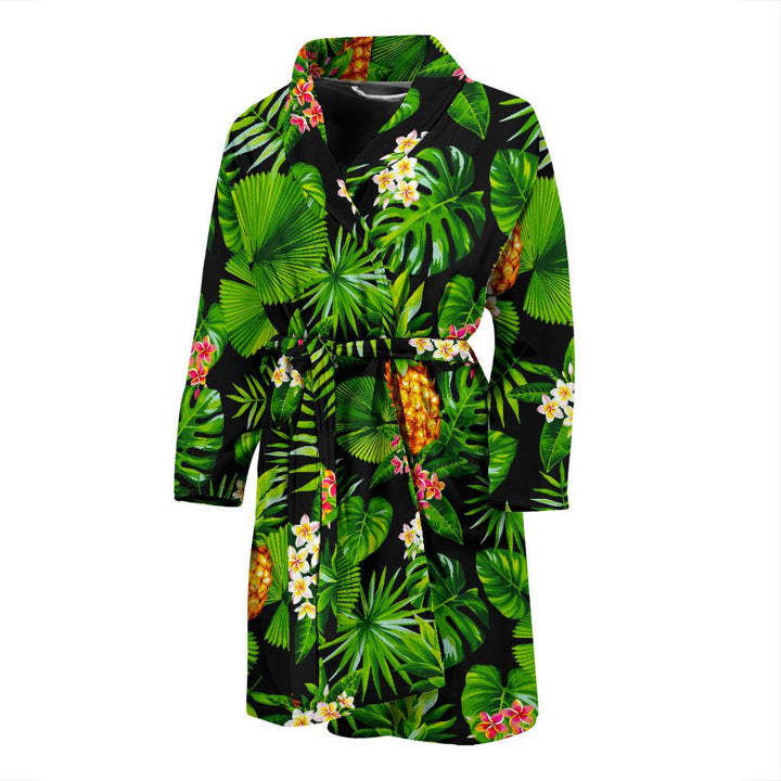 Black Hawaiian Pineapple Pattern Print Men's Bathrobe GearFrost