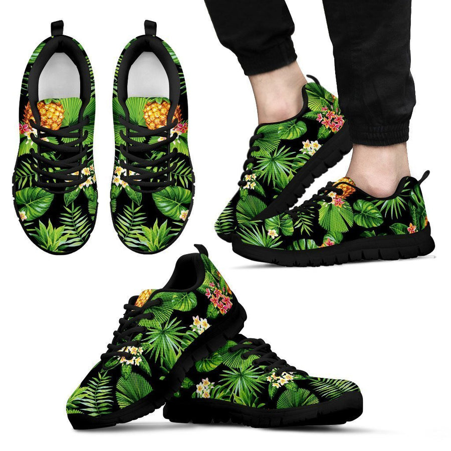 Black Hawaiian Pineapple Pattern Print Men's Sneakers GearFrost