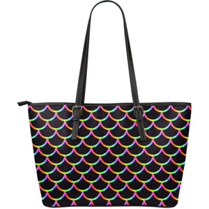 Black Mermaid Scales Pattern Print Leather Tote Bag GearFrost
