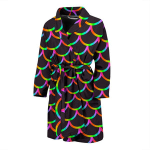 Black Mermaid Scales Pattern Print Men's Bathrobe GearFrost
