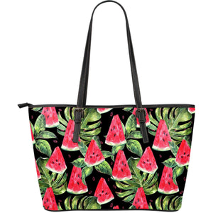Black Palm Leaf Watermelon Pattern Print Leather Tote Bag GearFrost