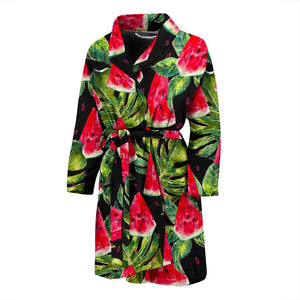 Black Palm Leaf Watermelon Pattern Print Men's Bathrobe GearFrost