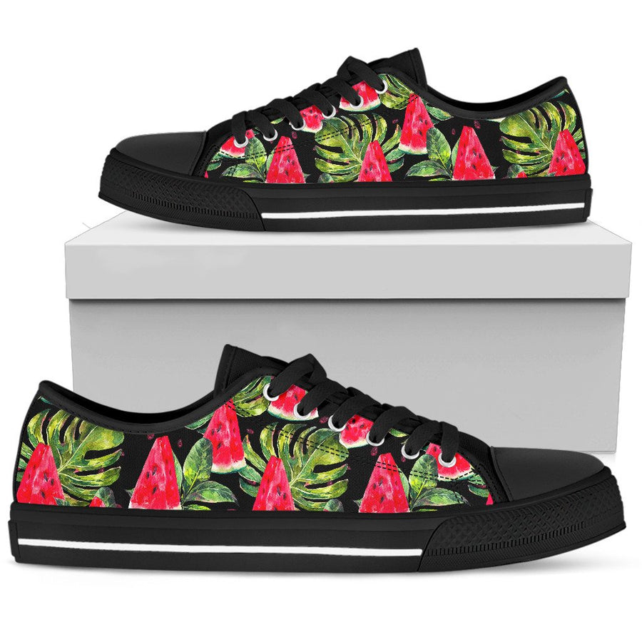 Black Palm Leaf Watermelon Pattern Print Women's Low Top Shoes GearFrost