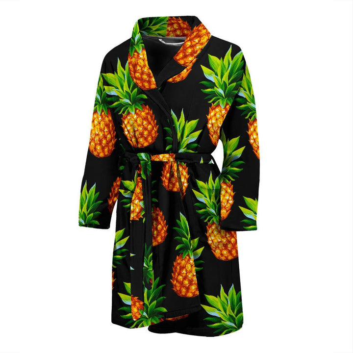 Black Pineapple Pattern Print Men's Bathrobe GearFrost