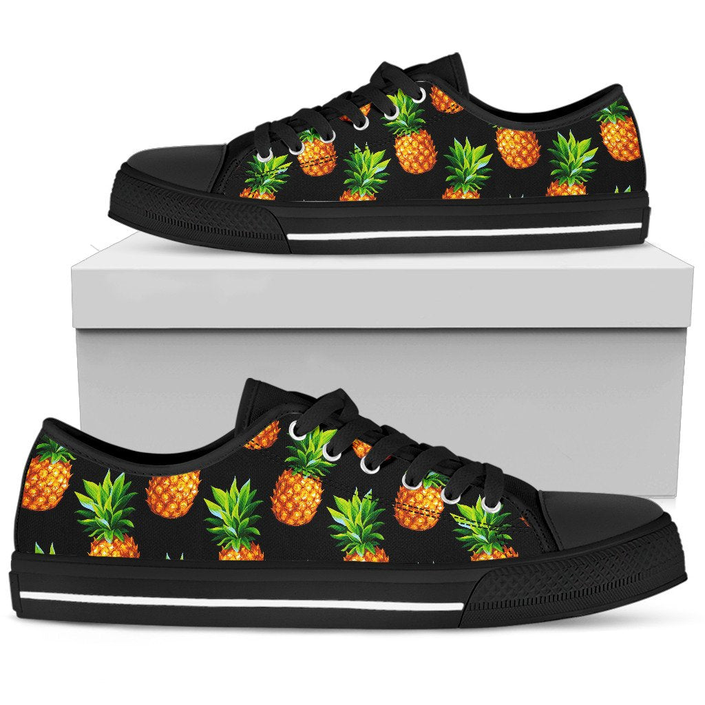 Black Pineapple Pattern Print Men's Low Top Shoes GearFrost