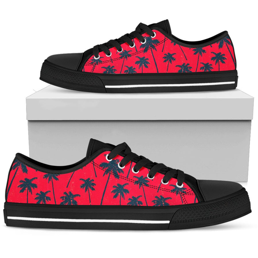 Black Red Palm Tree Pattern Print Men's Low Top Shoes GearFrost