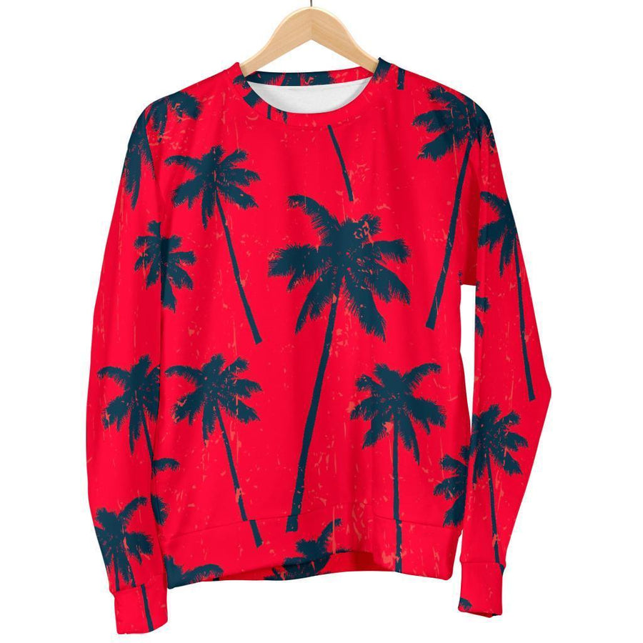 Black Red Palm Tree Pattern Print Women's Crewneck Sweatshirt GearFrost