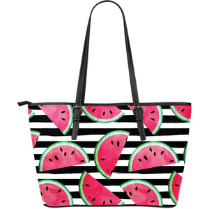 Black Striped Watermelon Pattern Print Leather Tote Bag GearFrost