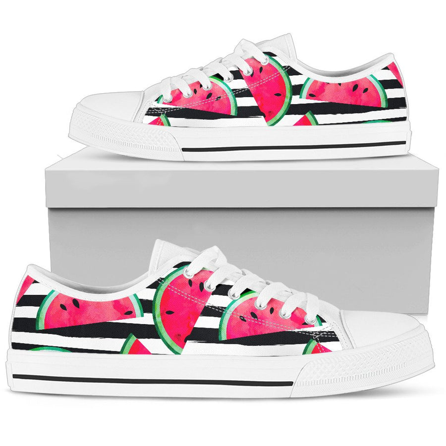 Black Striped Watermelon Pattern Print Women's Low Top Shoes GearFrost