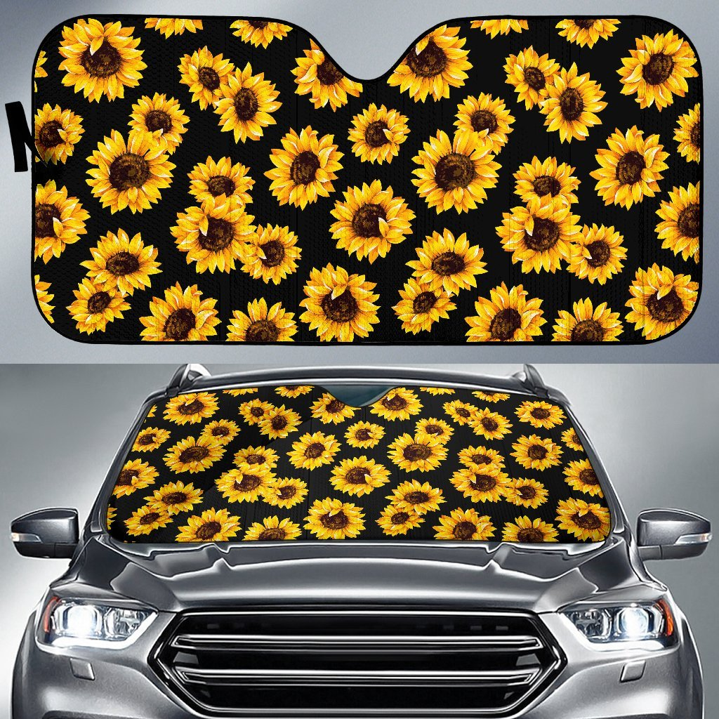 Black Sunflower Pattern Print Car Sun Shade GearFrost