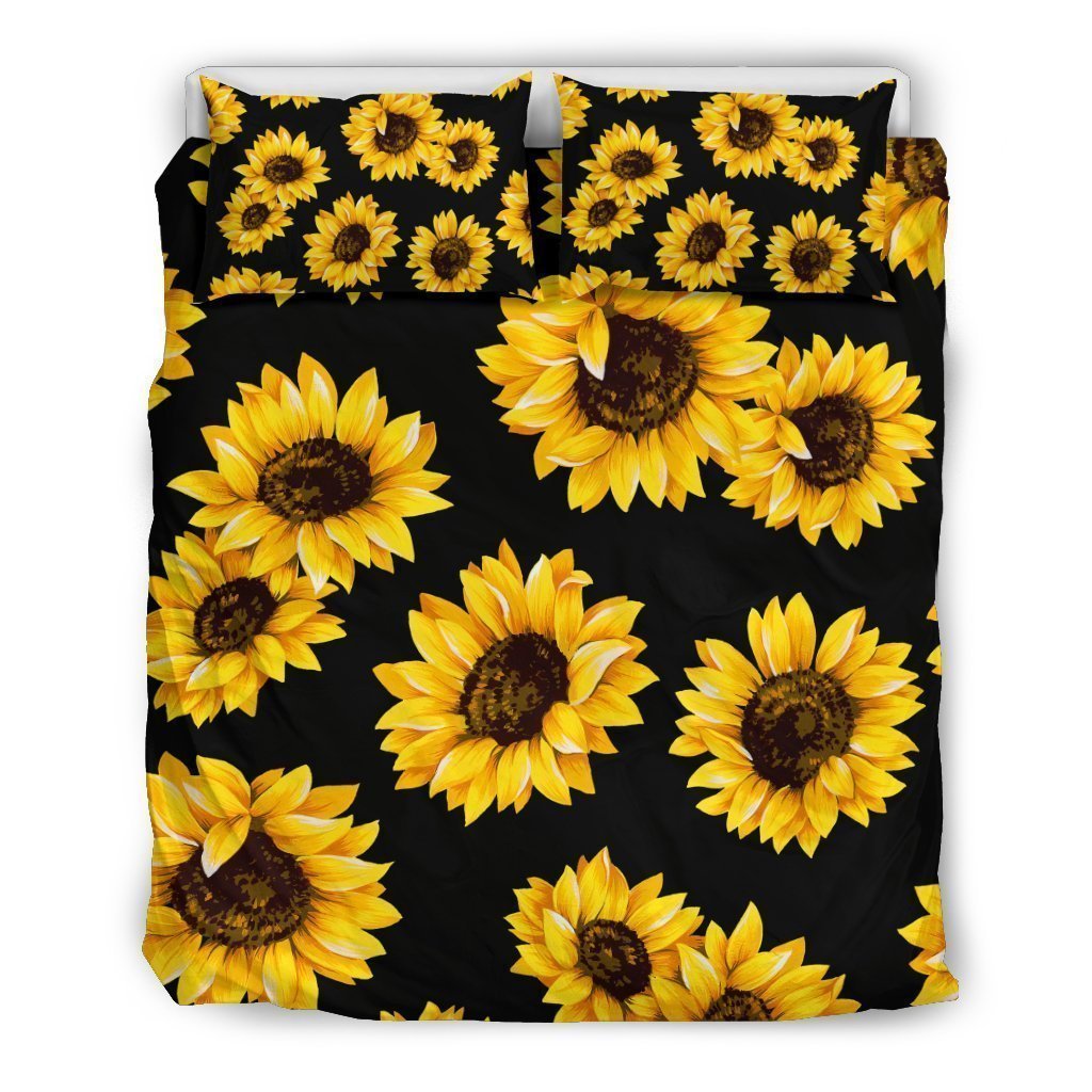 Black Sunflower Pattern Print Duvet Cover Bedding Set GearFrost