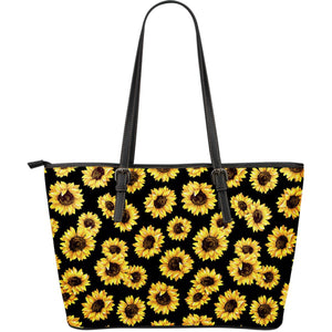 Black Sunflower Pattern Print Leather Tote Bag GearFrost