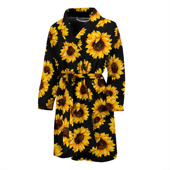 Black Sunflower Pattern Print Men's Bathrobe GearFrost