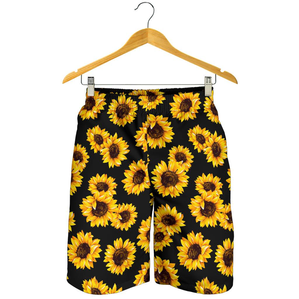 Black Sunflower Pattern Print Men's Shorts GearFrost